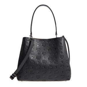 New MCM Monogram Sara Leather Convertible Hobo